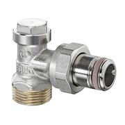 Запорный вентиль на обратку Oventrop Combi 4, угловой никелированный бронза/латунь 3/4 х 1/2, артикул 1090672, резьбовое соединение с самоуплотнение