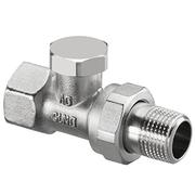 Запорный вентиль на обратку Oventrop Combi 2, прямой никелированный Ду10 (3/8), артикул 1091161