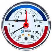 """STOUT Термоманометр аксиальный в комплекте с автоматическим запорным клапаном. Корпус Dn 80 мм 1/2"""" SIM-0005-800615"""