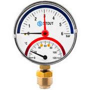 """STOUT Термоманометр радиальный в комплекте с автоматическим запорным клапаном. Корпус Dn 80 мм 1/2"""" SIM-0006-800415"""
