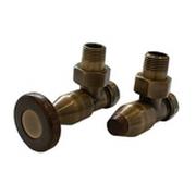 Комплект SCHLOSSER PRESTIGE, угловой античная латунь, для стальных труб GW M22х1,5 х GW 1/2 (круглая деревянная рукоятка), арт. 604500048