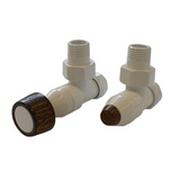 Комплект SCHLOSSER PRESTIGE, угловой белый, для медных труб GW M22х1,5 х 15х1 (круглая деревянная рукоятка), арт. 604500001