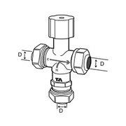 Tour & Andersson Термостатический смесительный клапан TA-MIX, M28*1,5, с компресс. фитингами 15 мм, 35-65 С, PN10, AMETAL, 52730015