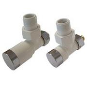 Комплект клапанов ручной регулировки SCHLOSSER Elegant для медных труб GZ 1/2 х 15х1 белый-хром (угловой), арт. 604200005