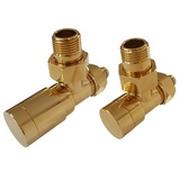 Комплект клапанов ручной регулировки SCHLOSSER Elegant для пластиковых труб GZ 1/2 х 16х2 золото (угловой), арт. 604200050