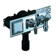Встроенный сифон HL для стиральной или посудомоечной машины с монтажной плитой и декоративной пластиной из нержавеющей стали, с никелированным вентилем для подсоединения к водопроводной сети и электрической розеткой HL406E