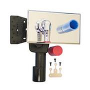 Встроенный сифон HL для стиральной или посудомоечной машины со строительной пробкой-заглушкой, со специальной монтажной плитой для укрепления деталей для водоснабжения, с хромированным угловым штуцером HL405ECO