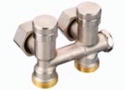 Клапан Danfoss RLV-K угловой 1/2x3/4 с переходниками, артикул 003L0282, для нижнего подключения радиаторов