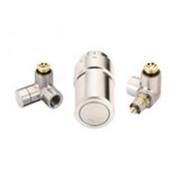 """Терморегулирующий комплект X-tra Danfoss для полотенцесушителей, артикул 013G4009, 1/2"""", нержавеющая сталь, для подключения терморегулятора справа, запорного клапана слева"""