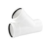 Тройник REHAU RAUPIANO PLUS 110/50/45°, для канализационных труб, арт. 11213041001